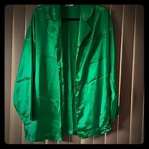 Green satin pijama top